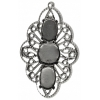 Filigree Pendant Setting34x54mm Flower Antique Silver